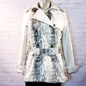 Coach python print belted trench jacket